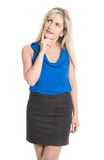 Attractive reflective middle aged woman in summer clothes lookin Royalty Free Stock Images