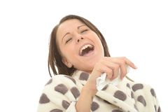 Attractive Relaxed Young Woman Giggling and Laughing Her Head Off Stock Photography