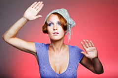 Attractive retro-style girl in bonnet Royalty Free Stock Photo
