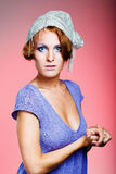 Attractive retro-style girl in bonnet Royalty Free Stock Photos