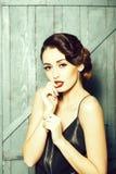 Attractive retro woman stock image