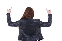 Attractive rocker girl wearing leather jacket and Royalty Free Stock Photo