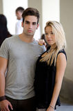 Attractive romantic couple, young man and girl standing Royalty Free Stock Photos
