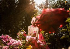 Attractive romantic woman on beautiful dress pose outdoor. Royalty Free Stock Photos