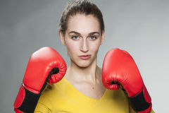 Attractive 20s woman proud to fight for success or competition Royalty Free Stock Image
