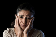 Attractive sad and desperate Latin woman crying frustrated suffering problems in sadness and stress Royalty Free Stock Photo