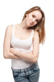 Attractive sad woman over white Royalty Free Stock Image