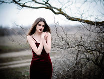 Attractive sad young girl in the field. Attractive sad young girl in a field Royalty Free Stock Photos