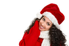 Attractive santa girl smiling. On white background Royalty Free Stock Photos