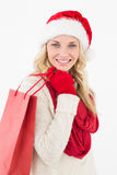 Attractive santa woman with shopping bag Royalty Free Stock Photo