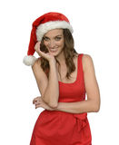 Attractive santa woman wishing merry christmas Stock Photography
