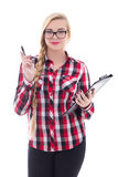 Attractive schoolgirl in eyeglasses with folder in her hand isol Royalty Free Stock Photography