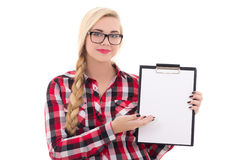 Attractive schoolgirl in eyeglasses holding empty blank in her h Stock Photo