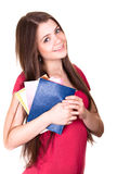 Attractive schoolgirl isolated Royalty Free Stock Image