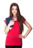 Attractive schoolgirl isolated Stock Photos