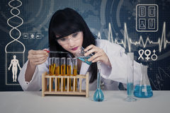 Attractive scientist examining liquid on digital Royalty Free Stock Photography