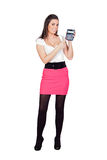 Attractive secretary with calculator Royalty Free Stock Images