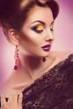 Attractive seductive female with closed eyes and make up Royalty Free Stock Photography