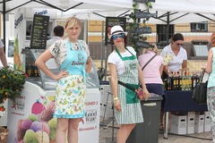 Attractive sellers at the fair Stock Photos
