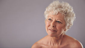 Attractive senior woman daydreaming. Close-up portrait of attractive senior female looking away in thought. Old woman daydreaming against grey background with Royalty Free Stock Photography