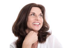 Attractive senior woman face isolated on white. Royalty Free Stock Photography