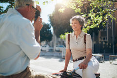 Attractive senior woman posing for a picture Stock Photography