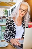 Attractive senior woman working on a computer stock photo