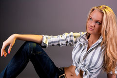 Attractive sensual young blonde girl Stock Photography