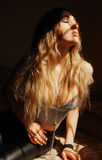 Attractive sensual young woman with long blonde hair Royalty Free Stock Photography