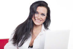 Attractive sexual woman with laptop Royalty Free Stock Images