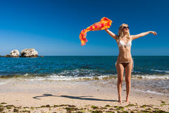 Attractive and sexy blonde girl on the beach Royalty Free Stock Image