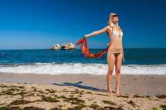 Attractive and sexy blonde girl on the beach Royalty Free Stock Photography