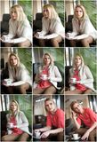 `Attractive sexy blonde in white sweater over pink blouse holding a cup of coffee. Portrait of sensual woman sitting on large leat Stock Photo