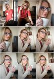 `Attractive sexy blonde in white sweater over pink blouse holding a cup of coffee. Portrait of sensual woman sitting on large leat Royalty Free Stock Photo