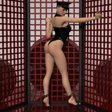 Attractive sexy girl in fetish wear. 3d render of a attractive sexy girl in fetish wear Stock Images