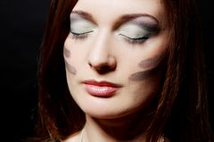 Attractive and sexy girl have military makeup Stock Image