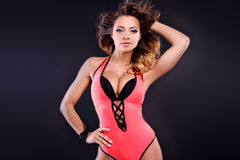 Attractive sexy girl posing in swimwear. Stock Image