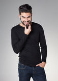 Attractive sexy man with beard dressed casual Royalty Free Stock Photos