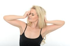 Attractive Sexy Sensual Young Woman Playing With Long Blonde Hair Royalty Free Stock Image