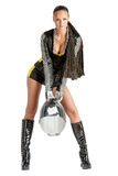 Attractive sexy woman in motoracer uniform Royalty Free Stock Photos