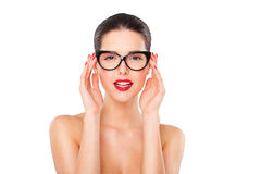 Attractive sexy woman wearing fashionable glasses Royalty Free Stock Photography