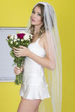 Attractive Sexy Young Bride Carrying Flowers Royalty Free Stock Photo