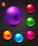Attractive Shiny Colorful Spheres on Abstract Gray Royalty Free Stock Photography