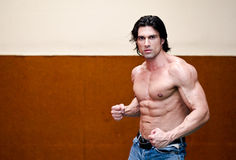 Attractive shirtless muscular man indoors Royalty Free Stock Photography