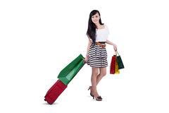 Attractive shopper with bags and luggage Stock Photo