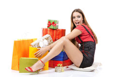 Attractive shopping woman stock photo