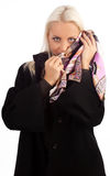 Attractive shy woman wearing coat Royalty Free Stock Image