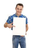 Attractive similing man showing signboard Stock Photo