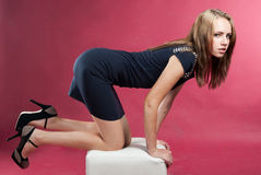 Attractive slender graceful girl on her knees Royalty Free Stock Photos