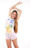 Attractive slim blonde woman and her grace Royalty Free Stock Photos